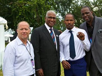 Scott Mirkin, Mayor William A. Bell, Jamie Foxx and co-producer Charlie Mack